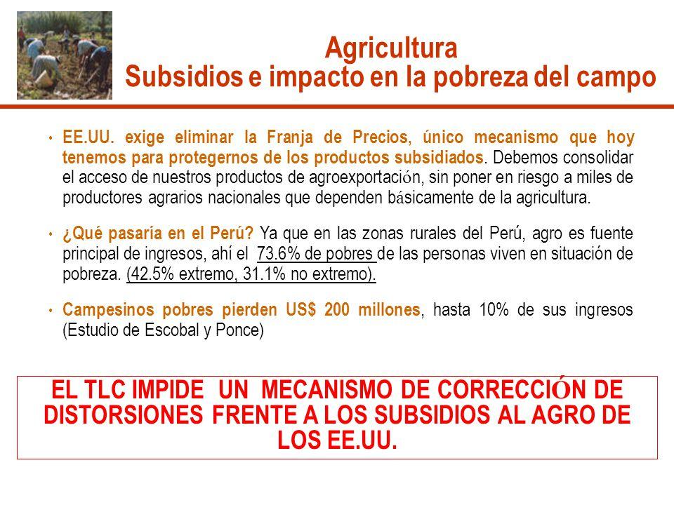 Agricultura Subsidios e impacto en la pobreza del campo EE.UU. exige eliminar la Franja de Precios, único mecanismo que hoy tenemos para protegernos d