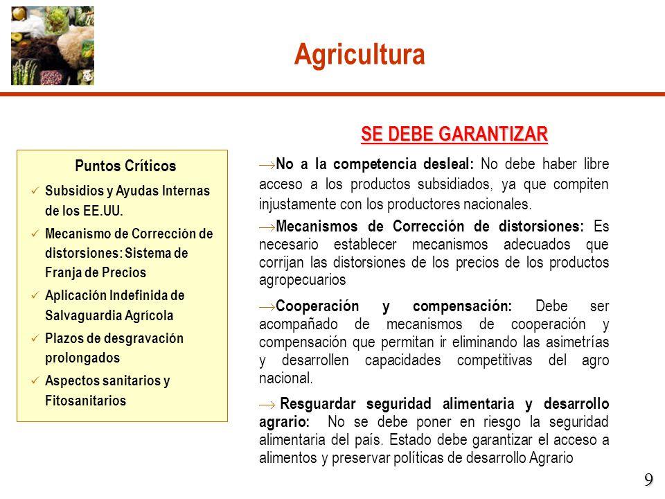 Agricultura No a la competencia desleal: No debe haber libre acceso a los productos subsidiados, ya que compiten injustamente con los productores naci