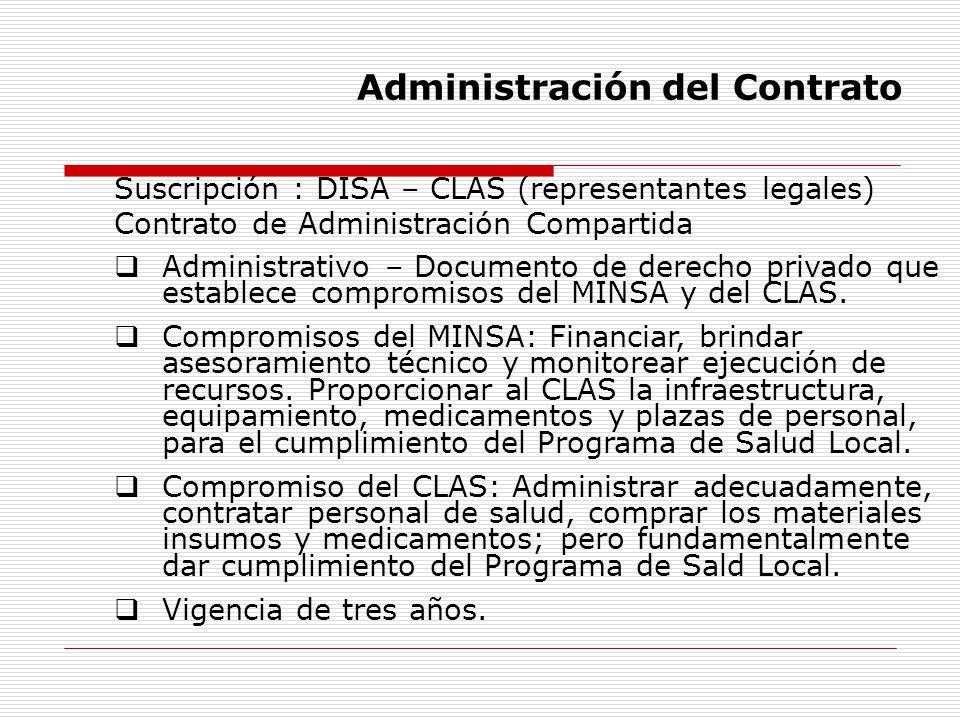 Administración del Contrato Suscripción : DISA – CLAS (representantes legales) Contrato de Administración Compartida Administrativo – Documento de der
