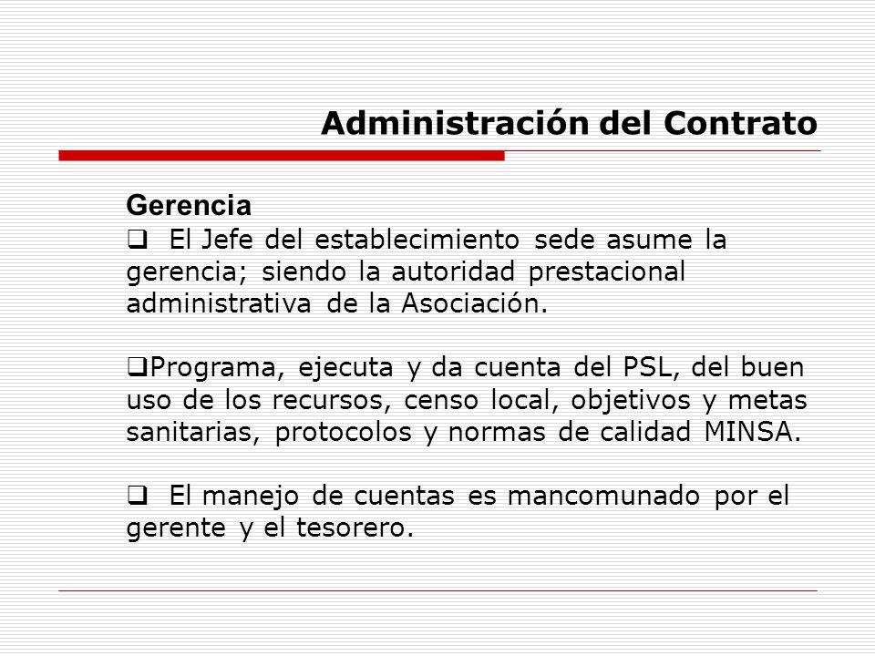 Administración del Contrato Gerencia El Jefe del establecimiento sede asume la gerencia; siendo la autoridad prestacional administrativa de la Asociac