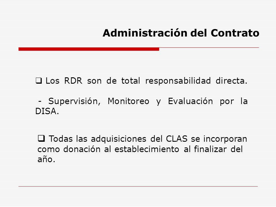 Los RDR son de total responsabilidad directa. - Supervisión, Monitoreo y Evaluación por la DISA. Todas las adquisiciones del CLAS se incorporan como d
