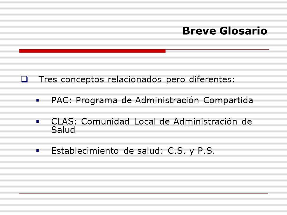 Breve Glosario Tres conceptos relacionados pero diferentes: PAC: Programa de Administración Compartida CLAS: Comunidad Local de Administración de Salu