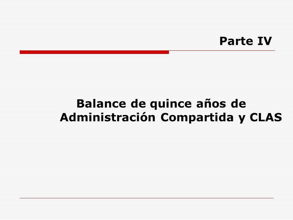 Balance de quince años de Administración Compartida y CLAS Parte IV