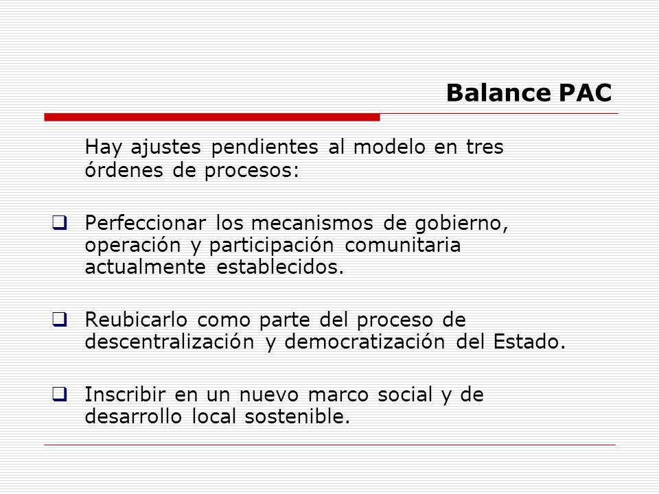 Balance PAC Hay ajustes pendientes al modelo en tres órdenes de procesos: Perfeccionar los mecanismos de gobierno, operación y participación comunitar