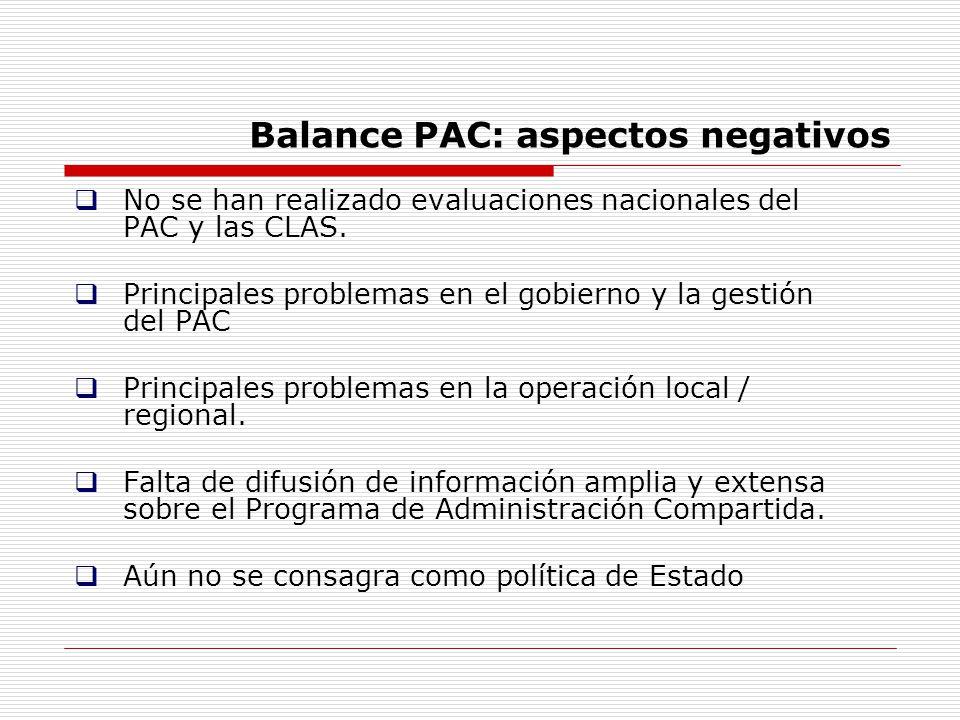 Balance PAC: aspectos negativos No se han realizado evaluaciones nacionales del PAC y las CLAS. Principales problemas en el gobierno y la gestión del