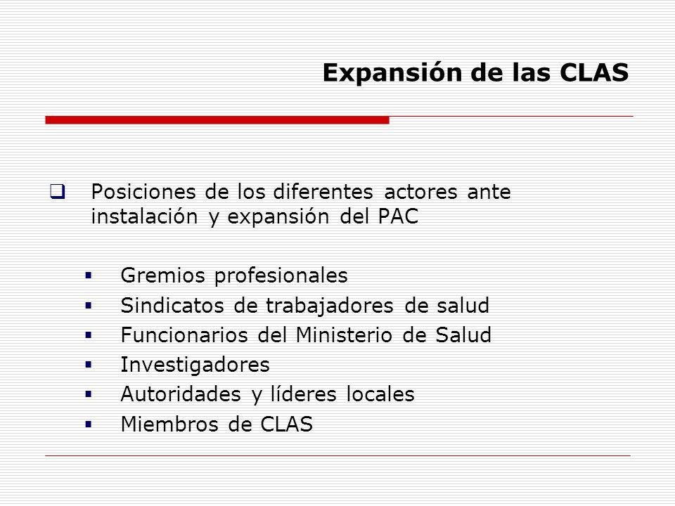 Expansión de las CLAS Posiciones de los diferentes actores ante instalación y expansión del PAC Gremios profesionales Sindicatos de trabajadores de sa