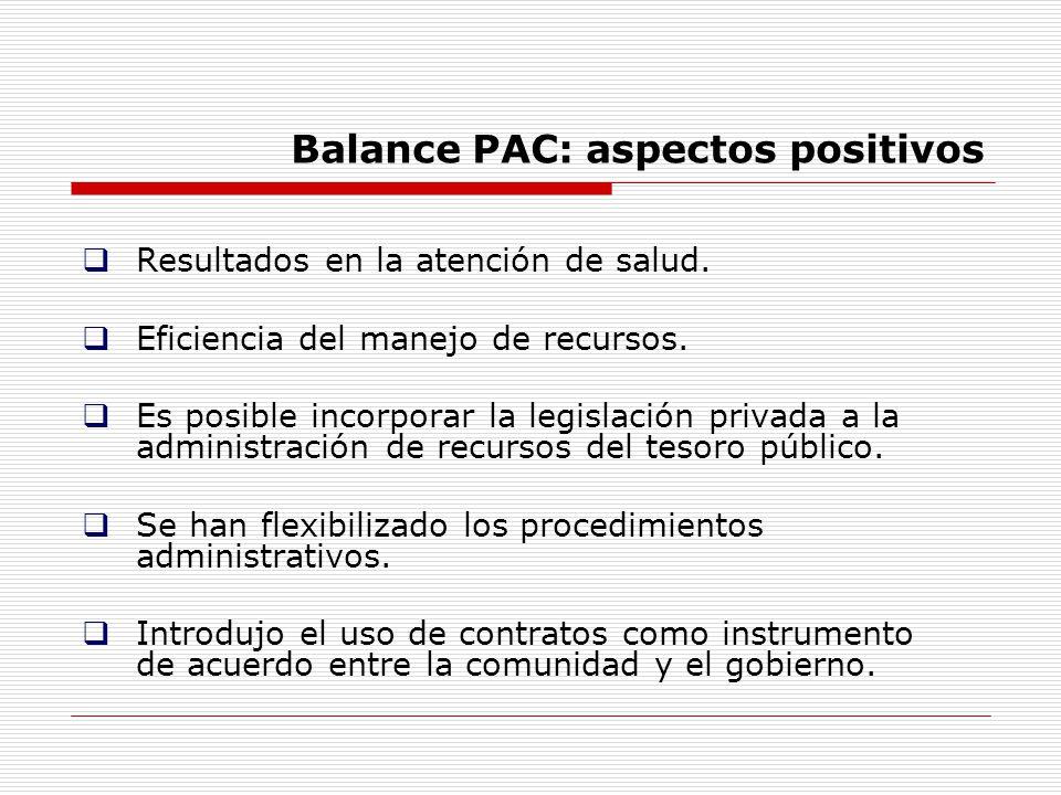 Balance PAC: aspectos positivos Resultados en la atención de salud. Eficiencia del manejo de recursos. Es posible incorporar la legislación privada a
