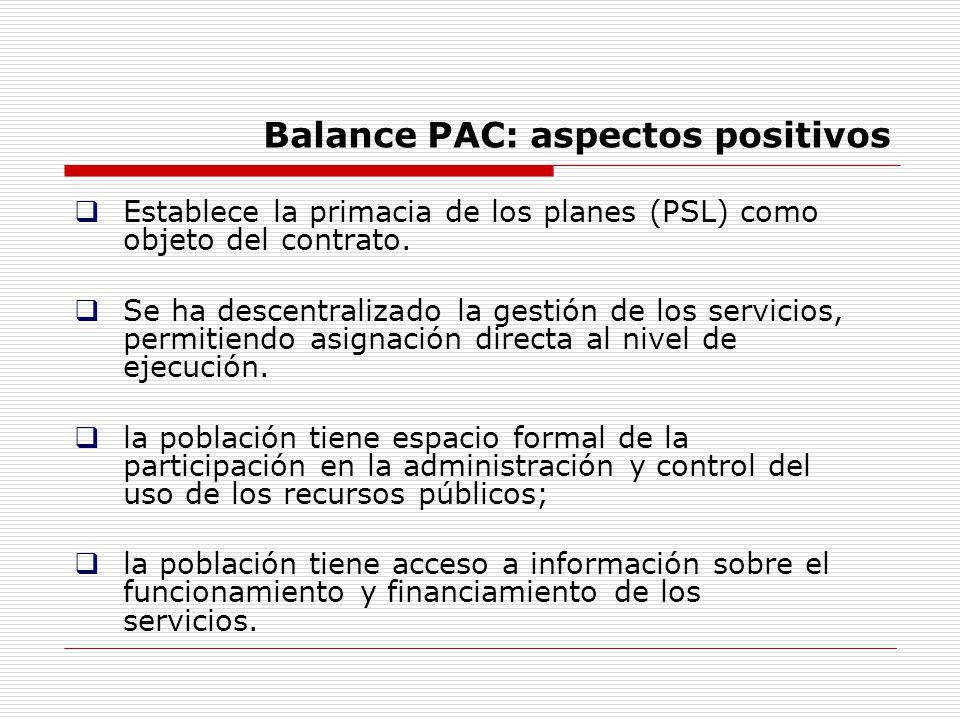 Balance PAC: aspectos positivos Establece la primacia de los planes (PSL) como objeto del contrato. Se ha descentralizado la gestión de los servicios,
