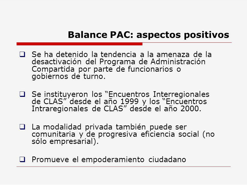 Balance PAC: aspectos positivos Se ha detenido la tendencia a la amenaza de la desactivación del Programa de Administración Compartida por parte de fu