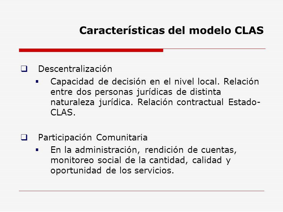 Características del modelo CLAS Descentralización Capacidad de decisión en el nivel local. Relación entre dos personas jurídicas de distinta naturalez