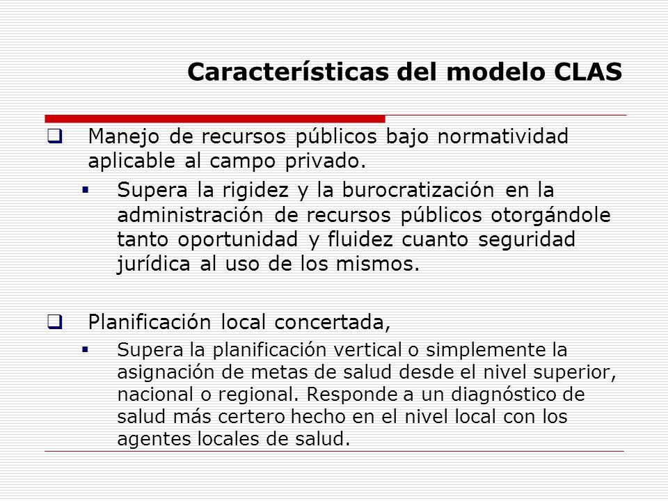 Características del modelo CLAS Manejo de recursos públicos bajo normatividad aplicable al campo privado. Supera la rigidez y la burocratización en la