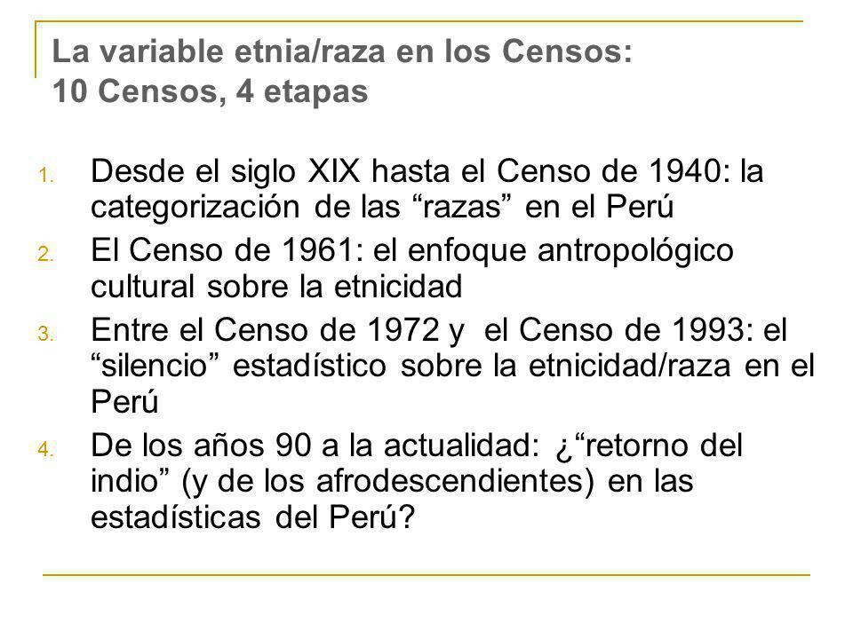 La variable etnia/raza en los Censos: 10 Censos, 4 etapas 1. Desde el siglo XIX hasta el Censo de 1940: la categorización de las razas en el Perú 2. E