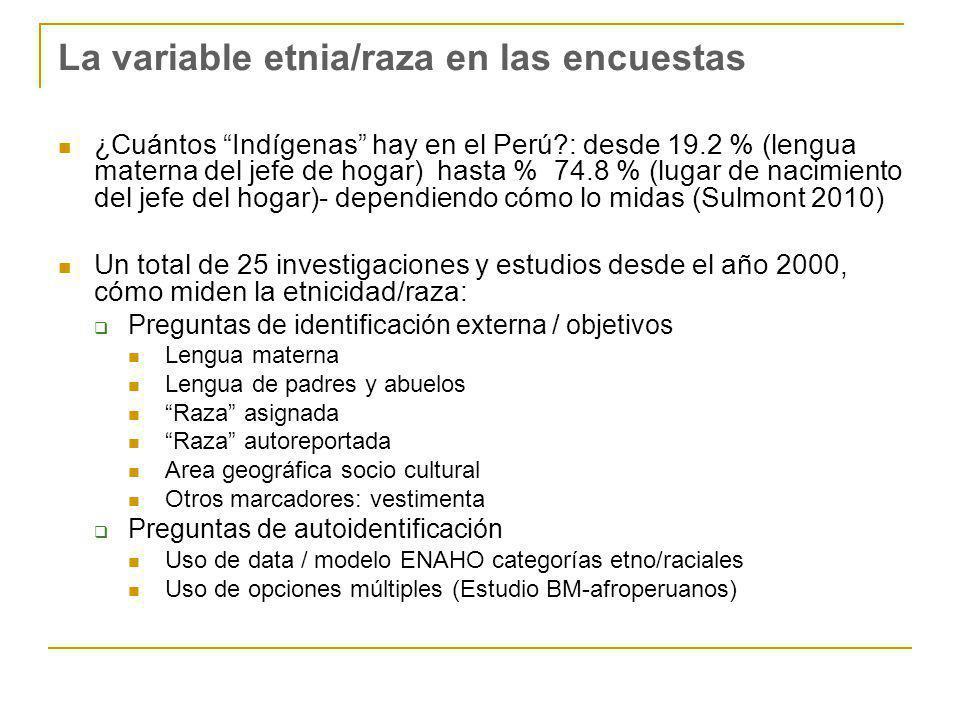 La variable etnia/raza en las encuestas ¿Cuántos Indígenas hay en el Perú?: desde 19.2 % (lengua materna del jefe de hogar) hasta % 74.8 % (lugar de nacimiento del jefe del hogar)- dependiendo cómo lo midas (Sulmont 2010) Un total de 25 investigaciones y estudios desde el año 2000, cómo miden la etnicidad/raza: Preguntas de identificación externa / objetivos Lengua materna Lengua de padres y abuelos Raza asignada Raza autoreportada Area geográfica socio cultural Otros marcadores: vestimenta Preguntas de autoidentificación Uso de data / modelo ENAHO categorías etno/raciales Uso de opciones múltiples (Estudio BM-afroperuanos)
