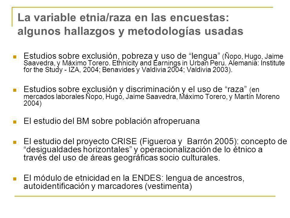 La variable etnia/raza en las encuestas: algunos hallazgos y metodologías usadas Estudios sobre exclusión, pobreza y uso de lengua (Ñopo, Hugo, Jaime Saavedra, y Máximo Torero.