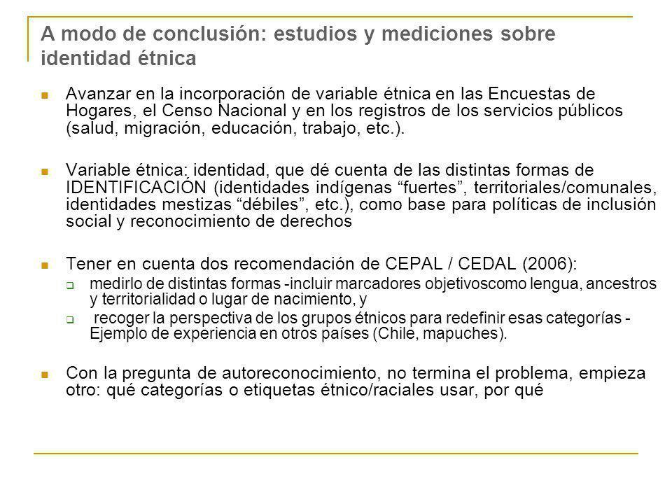 A modo de conclusión: estudios y mediciones sobre identidad étnica Avanzar en la incorporación de variable étnica en las Encuestas de Hogares, el Cens