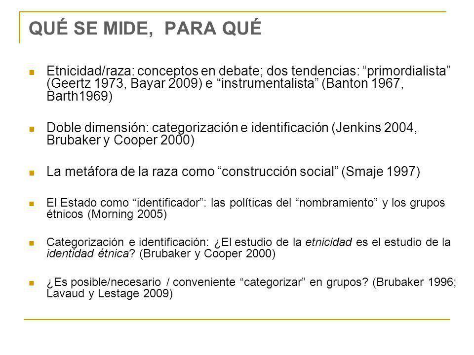 QUÉ SE MIDE, PARA QUÉ Etnicidad/raza: conceptos en debate; dos tendencias: primordialista (Geertz 1973, Bayar 2009) e instrumentalista (Banton 1967, Barth1969) Doble dimensión: categorización e identificación (Jenkins 2004, Brubaker y Cooper 2000) La metáfora de la raza como construcción social (Smaje 1997) El Estado como identificador: las políticas del nombramiento y los grupos étnicos (Morning 2005) Categorización e identificación: ¿El estudio de la etnicidad es el estudio de la identidad étnica.