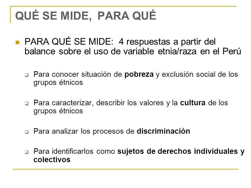 QUÉ SE MIDE, PARA QUÉ PARA QUÉ SE MIDE: 4 respuestas a partir del balance sobre el uso de variable etnia/raza en el Perú Para conocer situación de pobreza y exclusión social de los grupos étnicos Para caracterizar, describir los valores y la cultura de los grupos étnicos Para analizar los procesos de discriminación Para identificarlos como sujetos de derechos individuales y colectivos