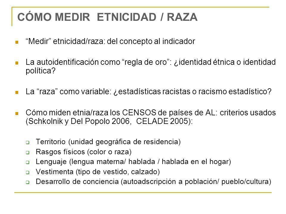CÓMO MEDIR ETNICIDAD / RAZA Medir etnicidad/raza: del concepto al indicador La autoidentificación como regla de oro: ¿identidad étnica o identidad pol