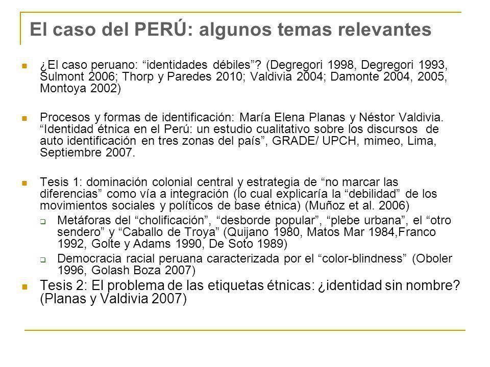 El caso del PERÚ: algunos temas relevantes ¿El caso peruano: identidades débiles? (Degregori 1998, Degregori 1993, Sulmont 2006; Thorp y Paredes 2010;