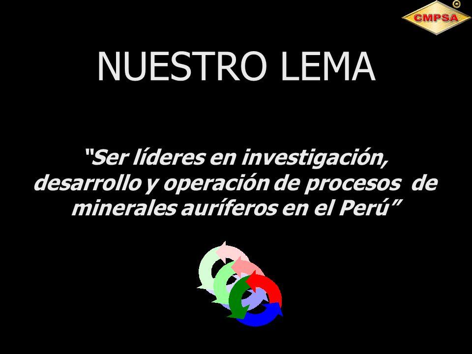 NUESTRO LEMA Ser líderes en investigación, desarrollo y operación de procesos de minerales auríferos en el Perú