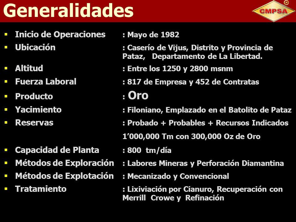 Generalidades Inicio de Operaciones : Mayo de 1982 Ubicación : Caserío de Vijus, Distrito y Provincia de Pataz, Departamento de La Libertad. Altitud :