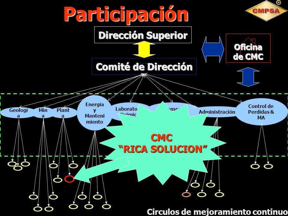 c Control de Perdidas & MA Geologí a Min a Plant a Energía y Manteni miento Laboratorio Químico Sistemas de Calidad Administración Comité de Dirección
