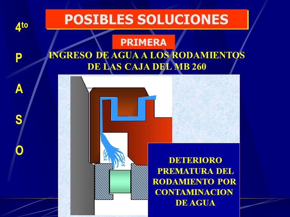 INGRESO DE AGUA A LOS RODAMIENTOS DE LAS CAJA DEL MB 260 DETERIORO PREMATURA DEL RODAMIENTO POR CONTAMINACION DE AGUA 4 to P A S O POSIBLES SOLUCIONES