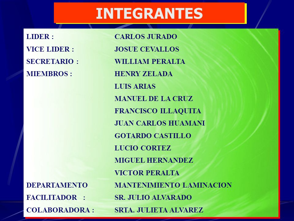 INTEGRANTES LIDER : CARLOS JURADO VICE LIDER : JOSUE CEVALLOS SECRETARIO : WILLIAM PERALTA MIEMBROS : HENRY ZELADA LUIS ARIAS MANUEL DE LA CRUZ FRANCI