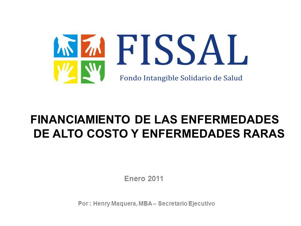 Enero 2011 Por : Henry Maquera, MBA – Secretario Ejecutivo FINANCIAMIENTO DE LAS ENFERMEDADES DE ALTO COSTO Y ENFERMEDADES RARAS