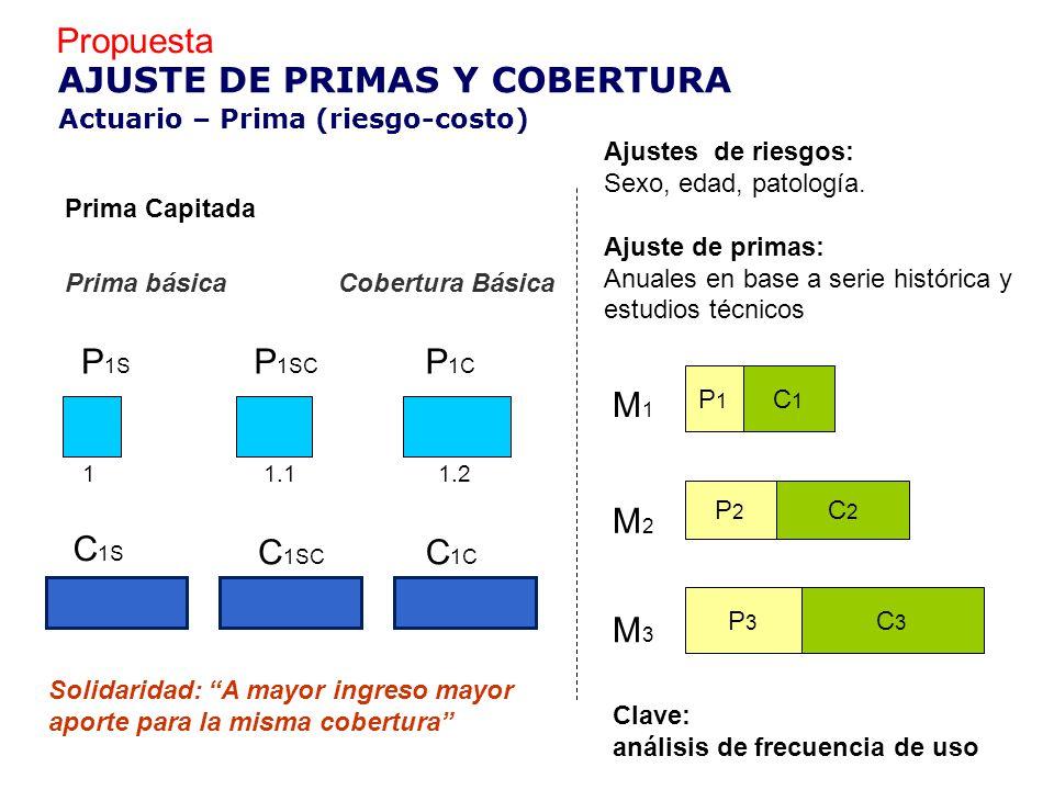 M2M2 P2P2 C2C2 M3M3 P3P3 M1M1 P1P1 C1C1 C3C3 1 P 1S P 1SC 1.1 P 1C 1.2 C 1S C 1SC C 1C AJUSTE DE PRIMAS Y COBERTURA Prima Capitada Ajustes de riesgos: Sexo, edad, patología.