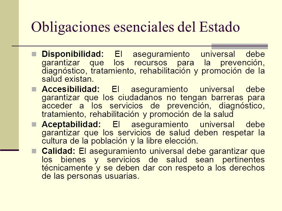Obligaciones esenciales del Estado Disponibilidad: El aseguramiento universal debe garantizar que los recursos para la prevención, diagnóstico, tratam