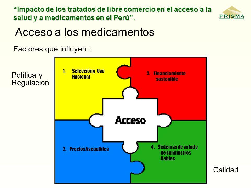 Impacto de los tratados de libre comercio en el acceso a la salud y a medicamentos en el Perú. Acceso a los medicamentos Factores que influyen : 1.Sel