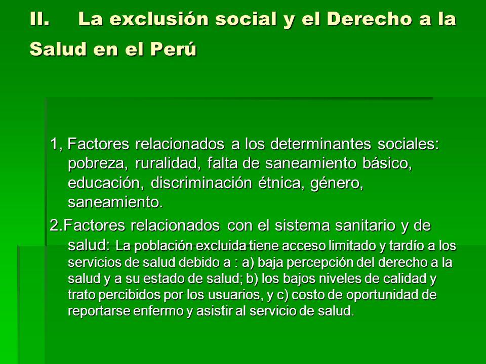 II.La exclusión social y el Derecho a la Salud en el Perú 1, Factores relacionados a los determinantes sociales: pobreza, ruralidad, falta de saneamiento básico, educación, discriminación étnica, género, saneamiento.