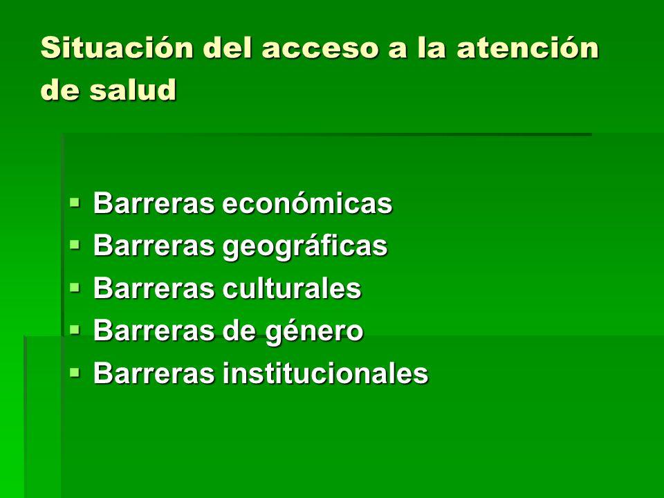 Situación del acceso a la atención de salud Barreras económicas Barreras económicas Barreras geográficas Barreras geográficas Barreras culturales Barreras culturales Barreras de género Barreras de género Barreras institucionales Barreras institucionales
