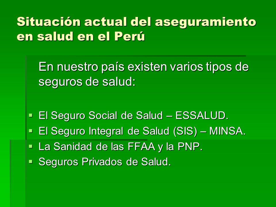 Situación actual del aseguramiento en salud en el Perú En nuestro país existen varios tipos de seguros de salud: El Seguro Social de Salud – ESSALUD.