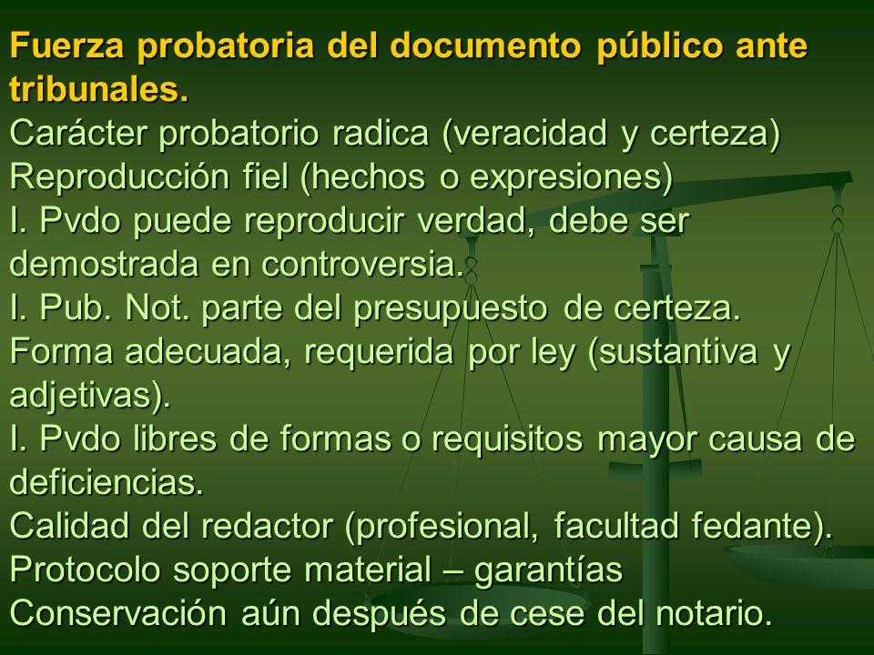 Fuerza probatoria del documento público ante tribunales.