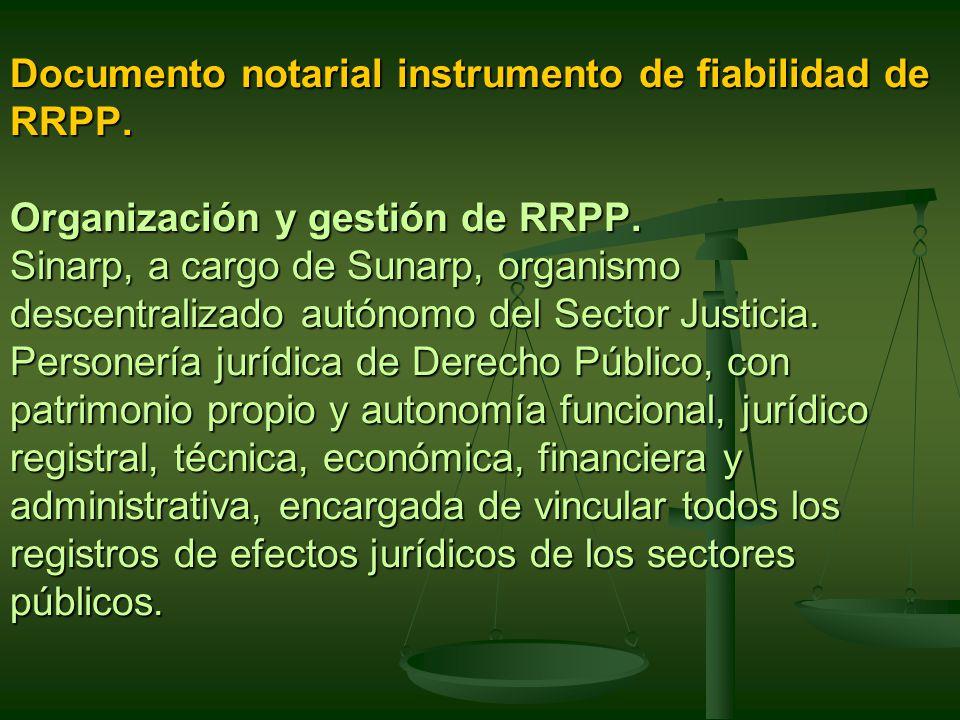 Documento notarial instrumento de fiabilidad de RRPP.