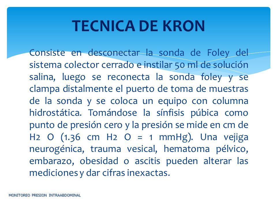 Consiste en desconectar la sonda de Foley del sistema colector cerrado e instilar 50 ml de solución salina, luego se reconecta la sonda foley y se cla