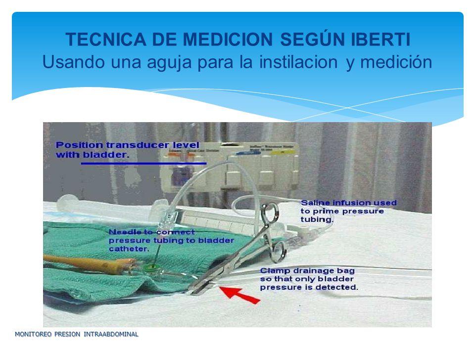 MONITOREO PRESION INTRAABDOMINAL TECNICA DE MEDICION SEGÚN IBERTI Usando una aguja para la instilacion y medición