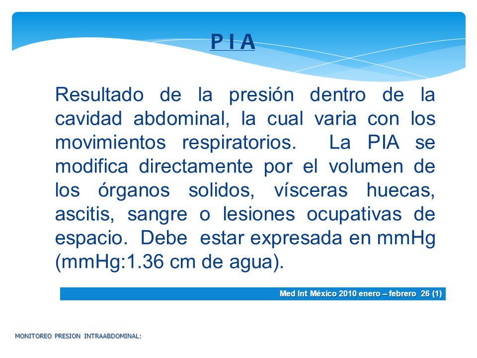 MONITOREO PRESION INTRAABDOMINAL: P I A Resultado de la presión dentro de la cavidad abdominal, la cual varia con los movimientos respiratorios. La PI