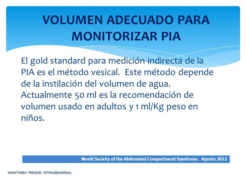 El gold standard para medición indirecta de la PIA es el método vesical. Este método depende de la instilación del volumen de agua. Actualmente 50 ml