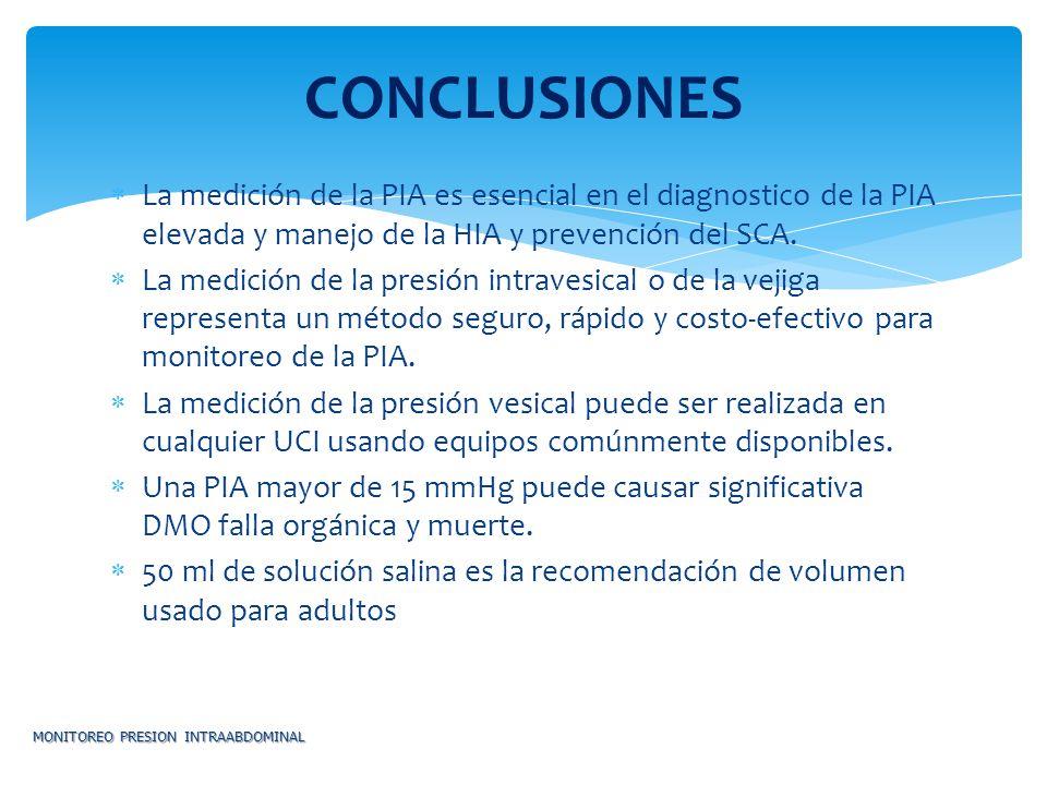 La medición de la PIA es esencial en el diagnostico de la PIA elevada y manejo de la HIA y prevención del SCA. La medición de la presión intravesical