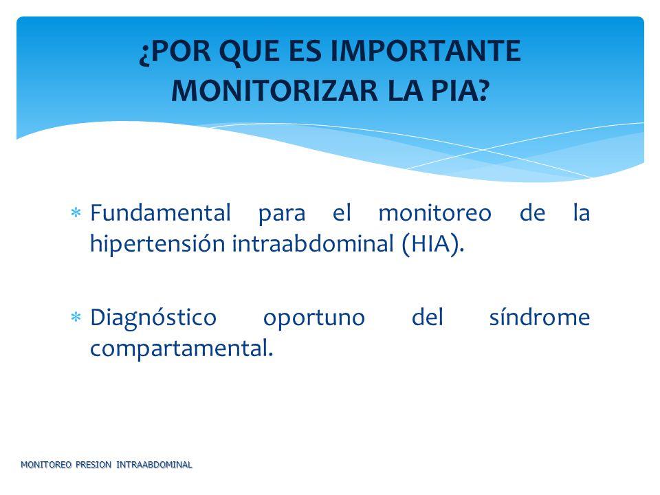 Fundamental para el monitoreo de la hipertensión intraabdominal (HIA). Diagnóstico oportuno del síndrome compartamental. MONITOREO PRESION INTRAABDOMI