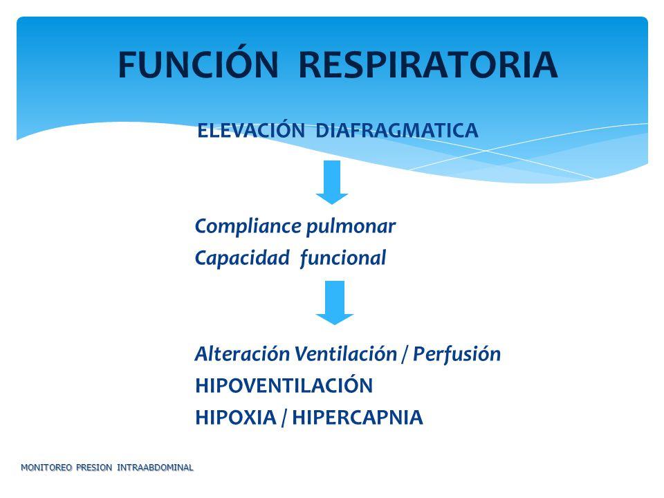 ELEVACIÓN DIAFRAGMATICA Compliance pulmonar Capacidad funcional Alteración Ventilación / Perfusión HIPOVENTILACIÓN HIPOXIA / HIPERCAPNIA MONITOREO PRE