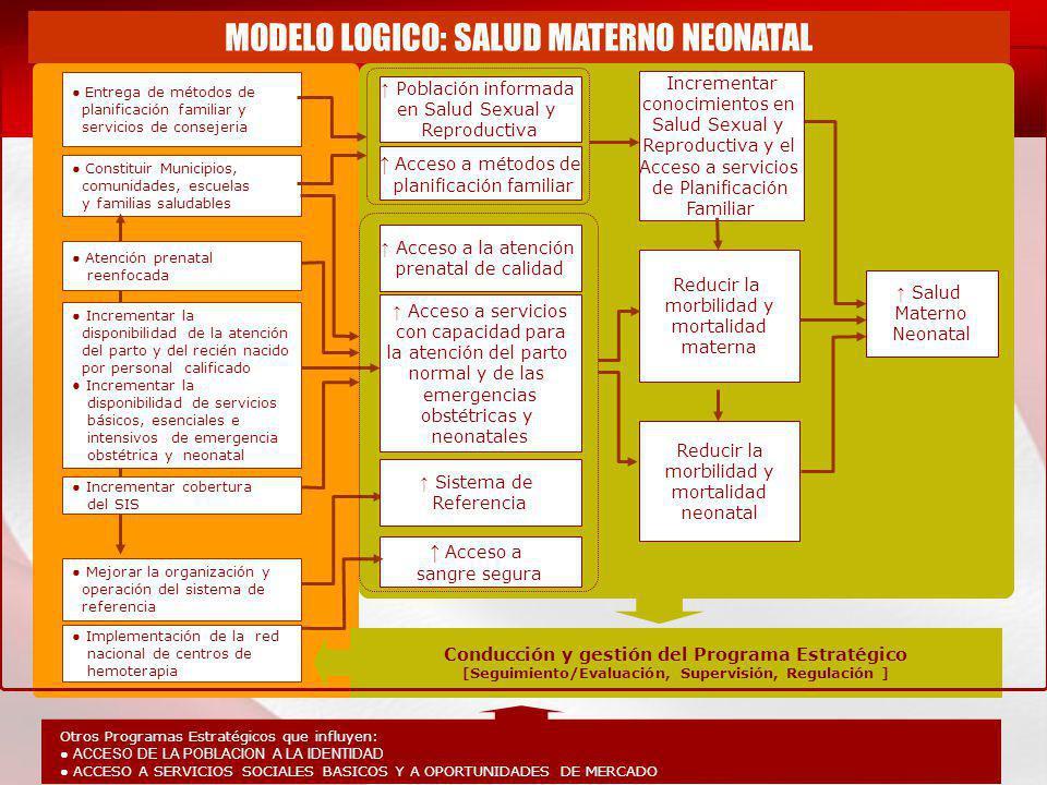 Salud Materno Neonatal Reducir la morbilidad y mortalidad neonatal Reducir la morbilidad y mortalidad materna Incrementar conocimientos en Salud Sexua