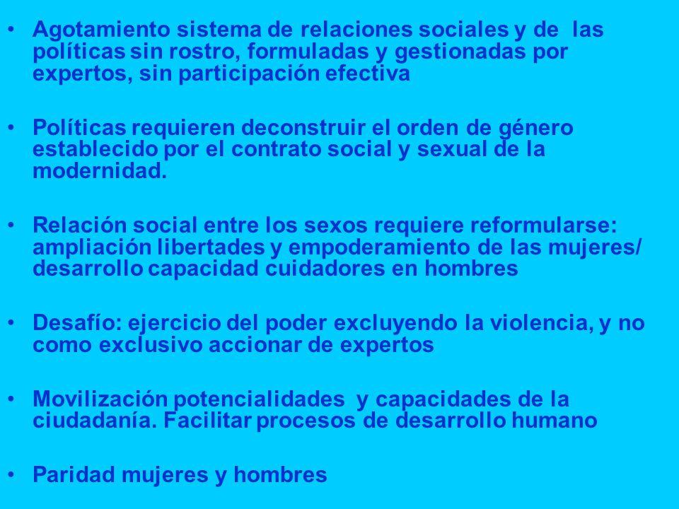 Agotamiento sistema de relaciones sociales y de las políticas sin rostro, formuladas y gestionadas por expertos, sin participación efectiva Políticas requieren deconstruir el orden de género establecido por el contrato social y sexual de la modernidad.