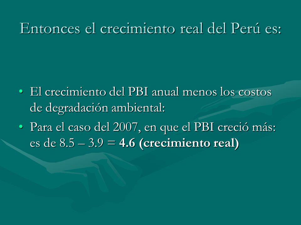 Entonces el crecimiento real del Perú es: El crecimiento del PBI anual menos los costos de degradación ambiental:El crecimiento del PBI anual menos lo