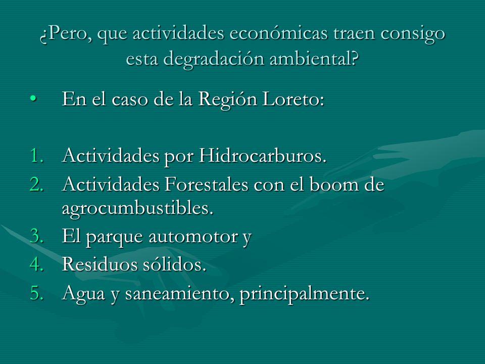 ¿Pero, que actividades económicas traen consigo esta degradación ambiental? En el caso de la Región Loreto:En el caso de la Región Loreto: 1.Actividad
