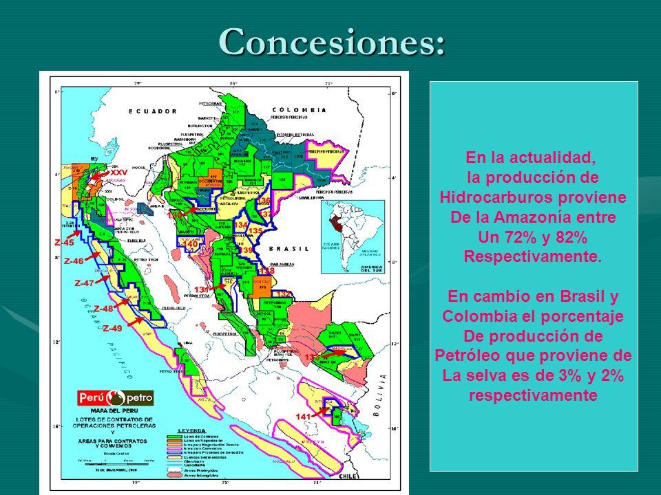 Concesiones: En la actualidad, la producción de Hidrocarburos proviene De la Amazonía entre Un 72% y 82% Respectivamente. En cambio en Brasil y Colomb