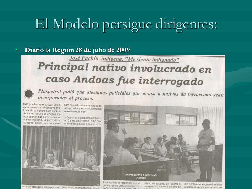 El Modelo persigue dirigentes: Diario la Región 28 de julio de 2009Diario la Región 28 de julio de 2009